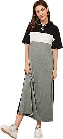 SheIn Women's Casual Loose Short Sleeve Colorblock High Neck Long Maxi T-Shirt Dresses