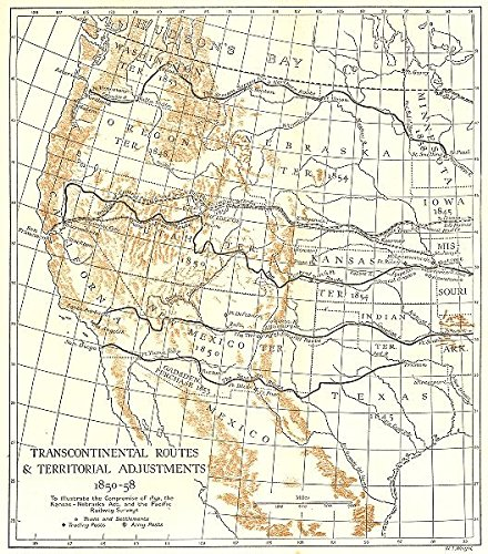 Map Of Usa 1850.Amazon Com Usa Transcontinental Routes Territorial Adjustments