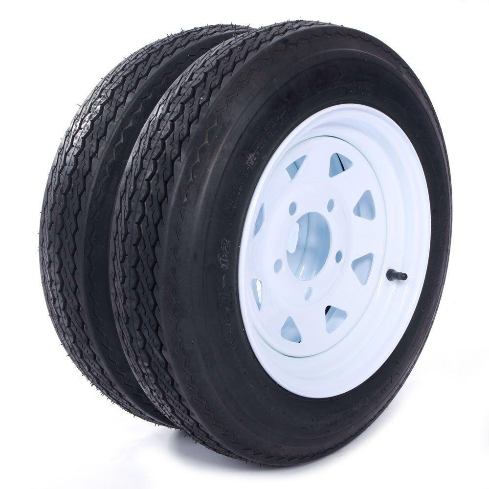 MILLION PARTS Two 12'' Trailer Tires Rims 4.8-12-4PR-5LUG P811 Wheel White Spoke by MILLION PARTS