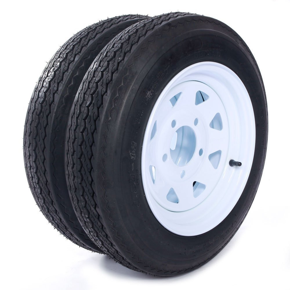 Two 12'' Trailer Tires Rims 4.8-12-4PR-5LUG P811 Wheel White Spoke