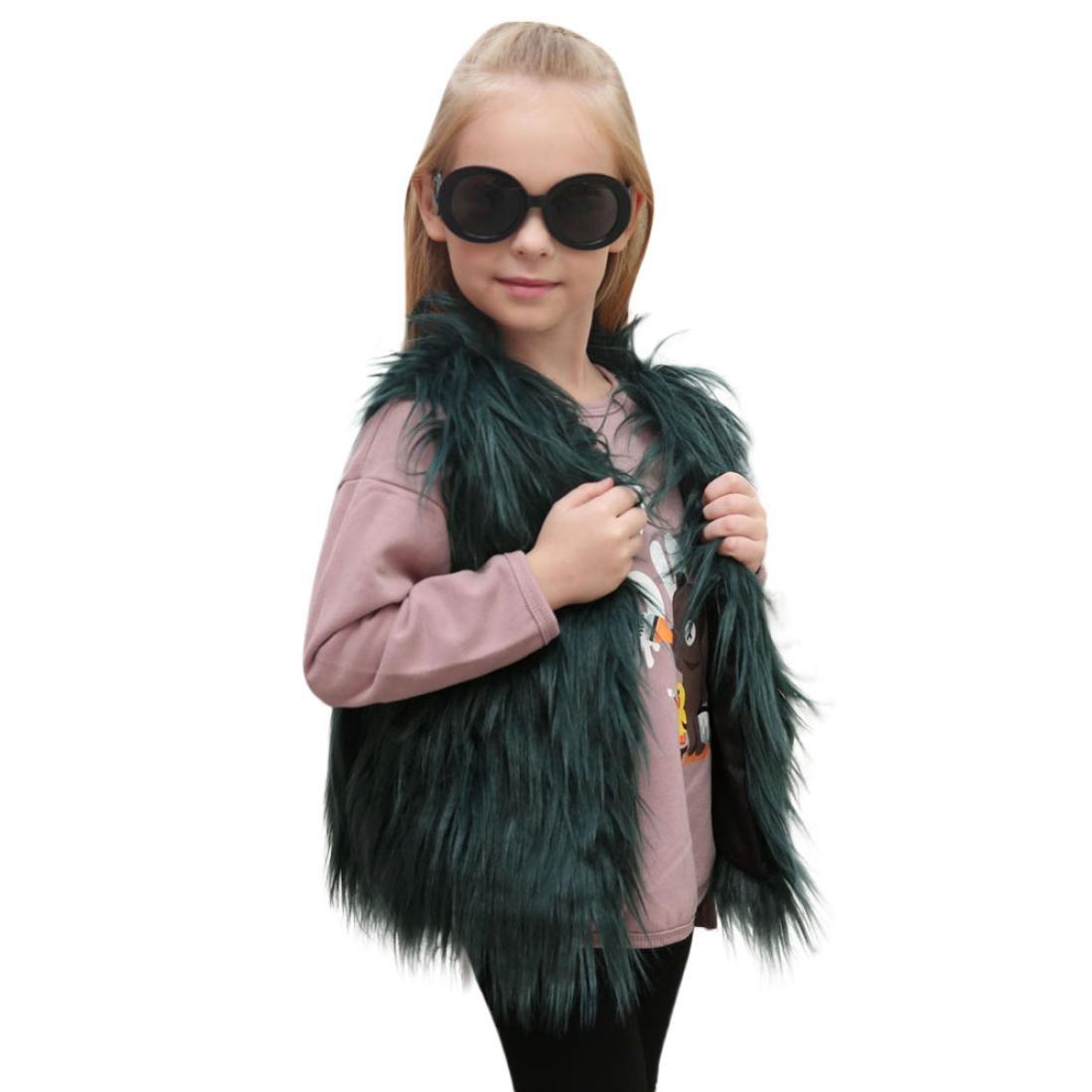 Baby Winter Coat, Egmy Cute Kid Baby Girl Autumn Winter Faux Fur Waistcoat Thick Coat Warm Outwear Clothes (5T, Green)