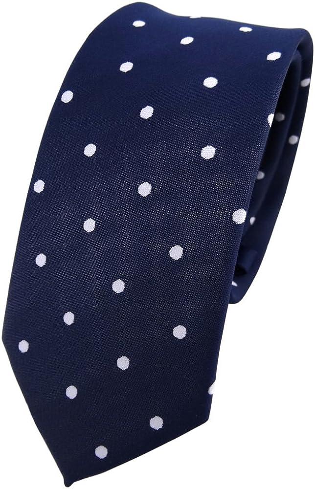 TigerTie - corbata estrecha - azul oscuro royal blanco lunares ...