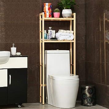 ce105e66f0a67e gperw Toilette Salle de bains Douche Toilette Sur Étagère Étagère  Porte-serviette Bois, 2