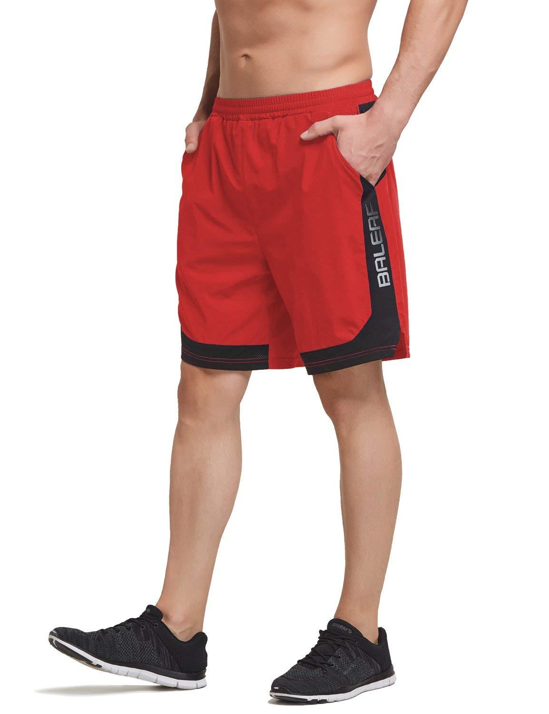 BALEAF Men's 7 Inches Quick Dry Running Shorts Mesh Liner Zip Pockets Red Size XL by BALEAF