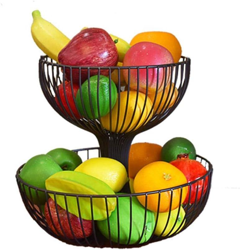 pegtopone - Frutero de Metal para Frutas, Color Negro, Cesta de Fruta Decorativa, 2 Pisos, Bandeja de Fruta de Hierro Forjado, Planchado para Aperitivos, decoración de Mesa, Runden