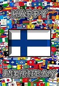 Amazon.com: 14cm x 10cm Art Card Greetings Birthday Card Flag Design Finland: Home & Kitchen
