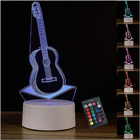 Aione Night Light Lámpara de Guitarra 3D 7 Colores Que cambian Mesa de Escritorio LED Luz