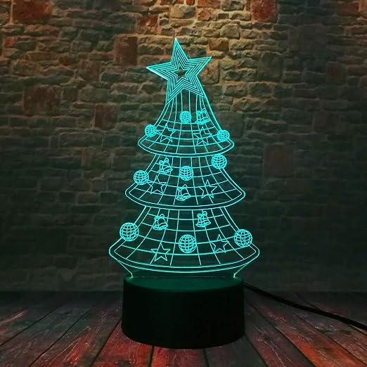 3D Xmas Tree Star Bell Bell Ball Led 7 Luces de cambio de ...