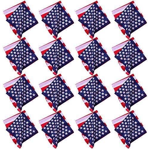 URATOT 12 Pack American Flag Printed Bandanas USA Flag Bandana Headband Cowboy Handkerchiefs Patriotic Accessories for Men and Women (American flag color, 12) (Mens Square Printed Bandana)