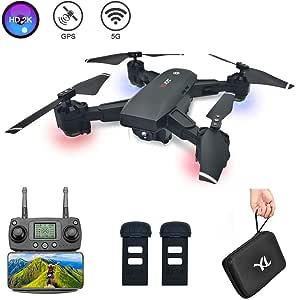 3T6B RC Drone Doble GPS con HD 2K Cámara, FPV Video en Vivo, 5G WiFi Transmisión, Plegable Quadcopter con Motor sin escobillas, Lente Gran Angular de 120 °, 2 Baterías, para Adultos Profesionales