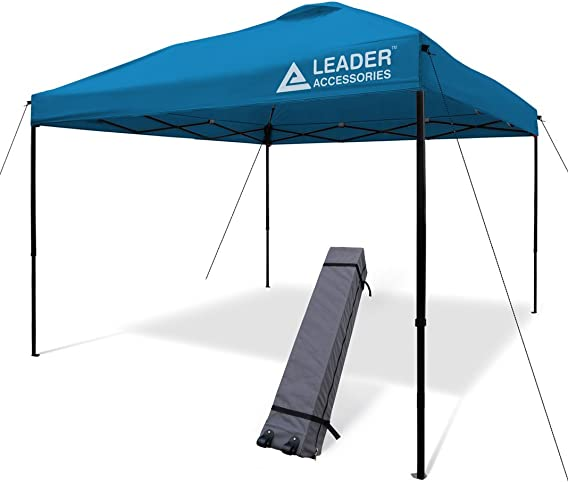 Leader Accessories Pop Up Canopy Tent 10'x10' Canopy Instant Canopy Shelter Straight Leg Including Wheeled Carry Bag