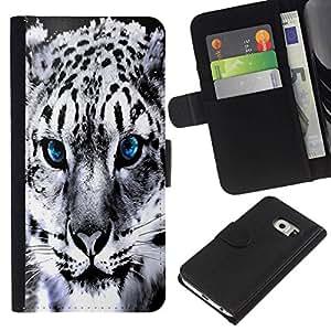All Phone Most Case / Oferta Especial Cáscara Funda de cuero Monedero Cubierta de proteccion Caso / Wallet Case for Samsung Galaxy S6 EDGE // Blue Eye Snow Panther Jaguar