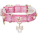 PetsHome Cat Collar, Dog Collar, [Bling Rhinestones] Premium PU Leather with Pendant Adjustable Collars for Cat and Small to