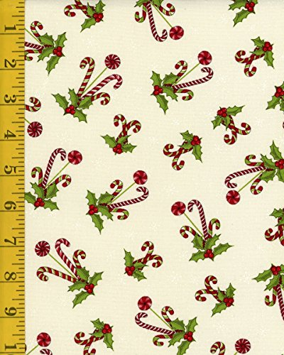 Christmas Fabric - Henry Glass Reindeer Magic 8780-44 Candy Cane Toss - Cream - Candy Canes Quilt Fabric
