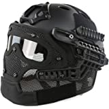 Simways PJ Type FAST Molle Tactical Helmet Combined With Full Mask and Goggles for Airsoft Paintball CS and Other Outdoor Activities Free Size