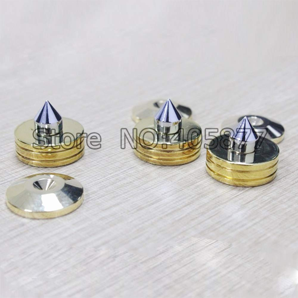 Jammas 6 set brass gold plated speaker spike stand Isolation feet base - (Standard: Amplifier pad)