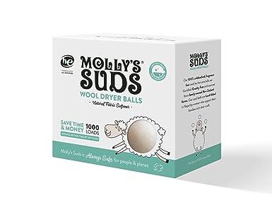 Mollys Suds - Juego de 3 pelotas de lana para secadora, suavizante de tela natural