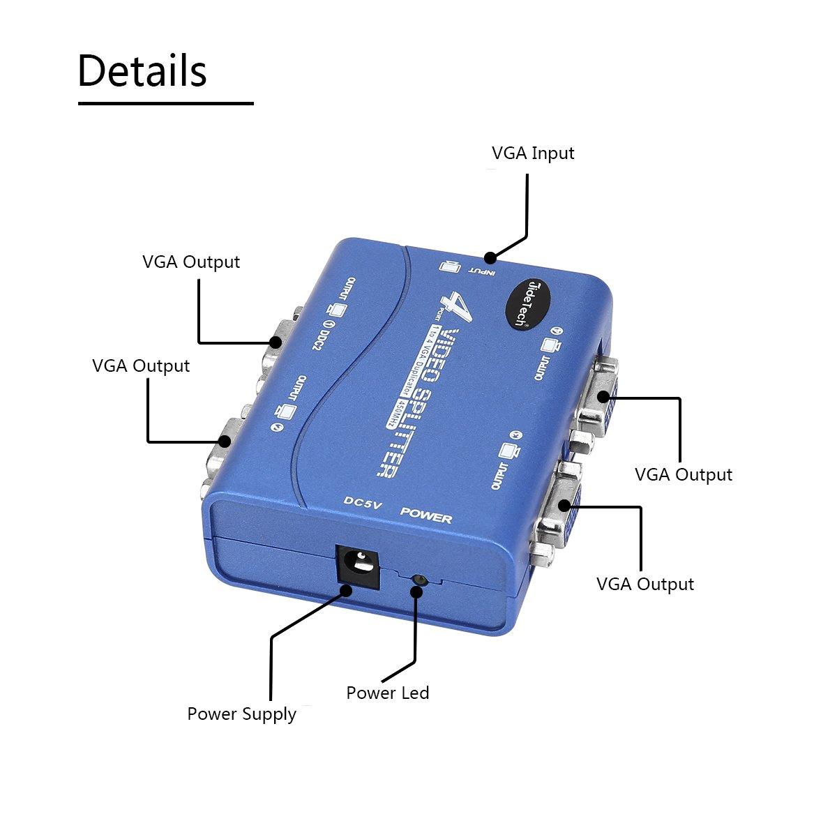 VGA Splitter 2 port USB prise en charge 1920X1400 r/ésolution 250MHz bande passante pour la duplication d/écran