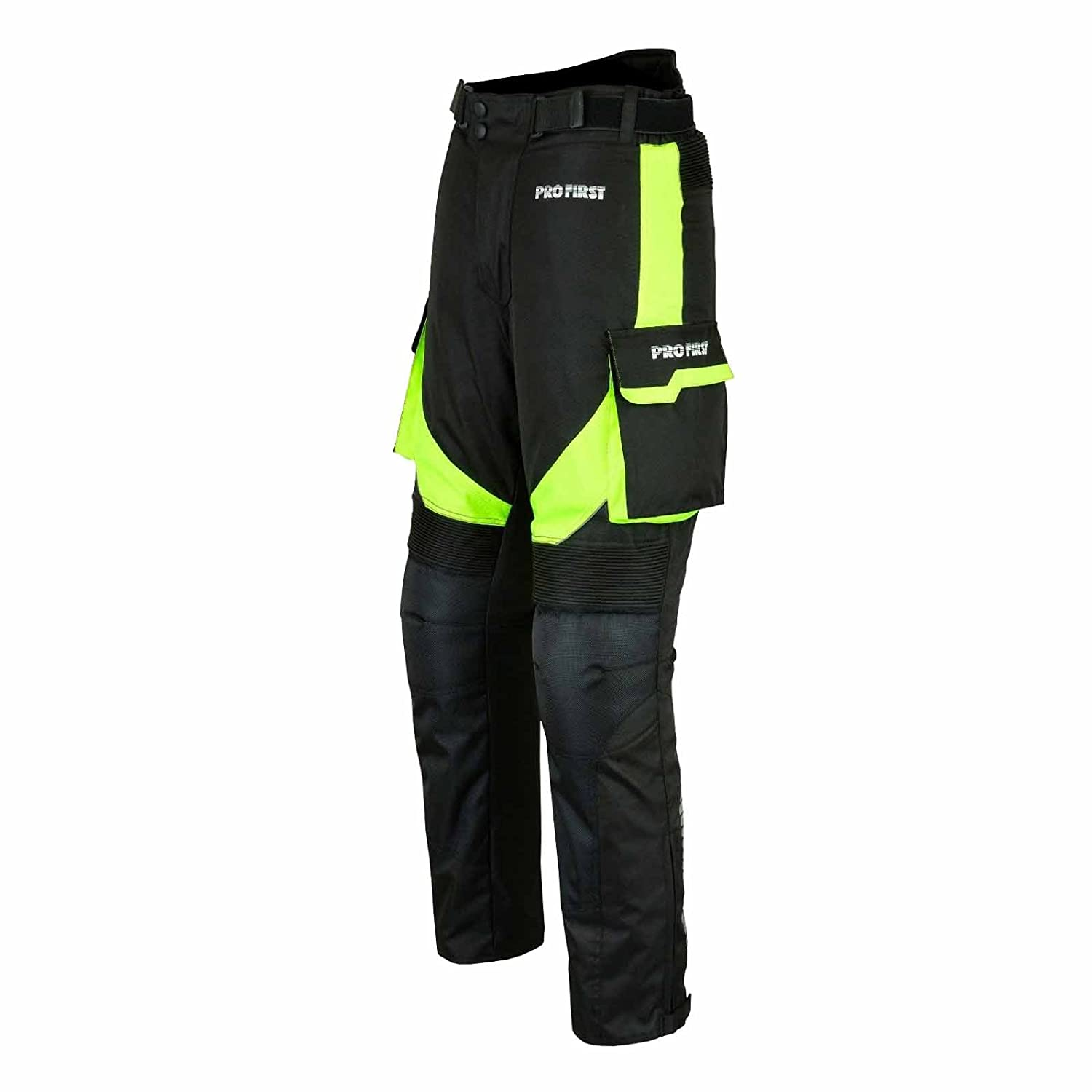 Green - XS to 4XL CE Approved Armoured Motorbike Motorcycle Trouser Pant Waterproof Removable Lining Big Pocket Design PROFIRST TR-001 Long Length Inside Leg 32 inch
