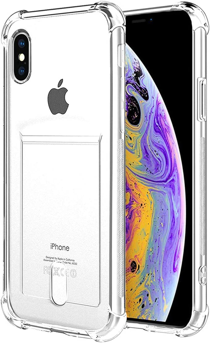 ANHONG iPhone X,iPhone Xs Clear Case with Card Holder, [Slim Fit][Wireless Charger Compatible]Protective Soft TPU Shock-Absorbing Bumper Case With Soft Screen Protector Compatible iPhone X/ iPhone Xs