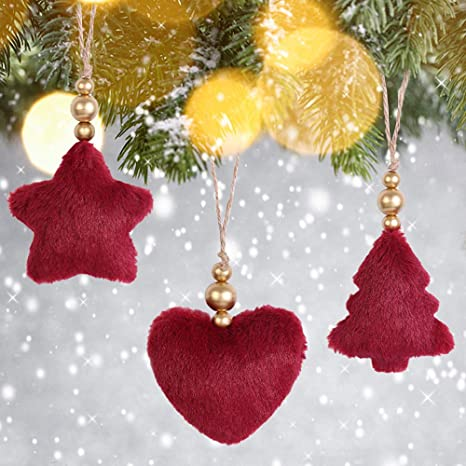Amazon Com Christmas Tree Ornaments Plush Heart Star Decorations For Holiday Party Decor 3d Decoration Supplies 3 Pcs In Red Color Kitchen Dining