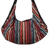 8 AM. Tribal Hmong Striped Ethnic Cotton Boho Sling Shoulder Asia Thai Pattern Crossbody Bag Backpack Top Zip (Stripe Red)