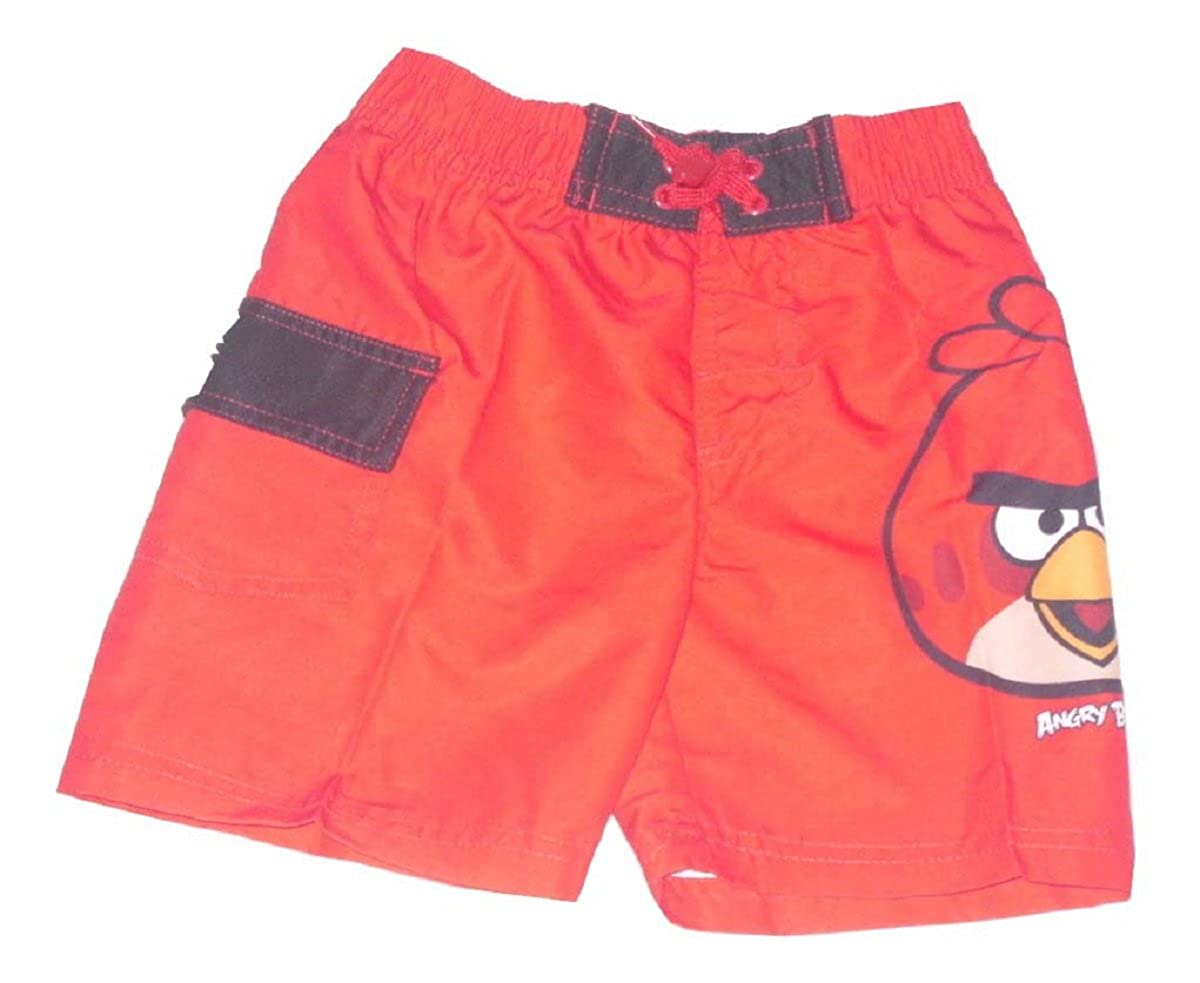 Angry Birds Boys Swimming Shorts Lined Swim Boxer Red 3-12 Years