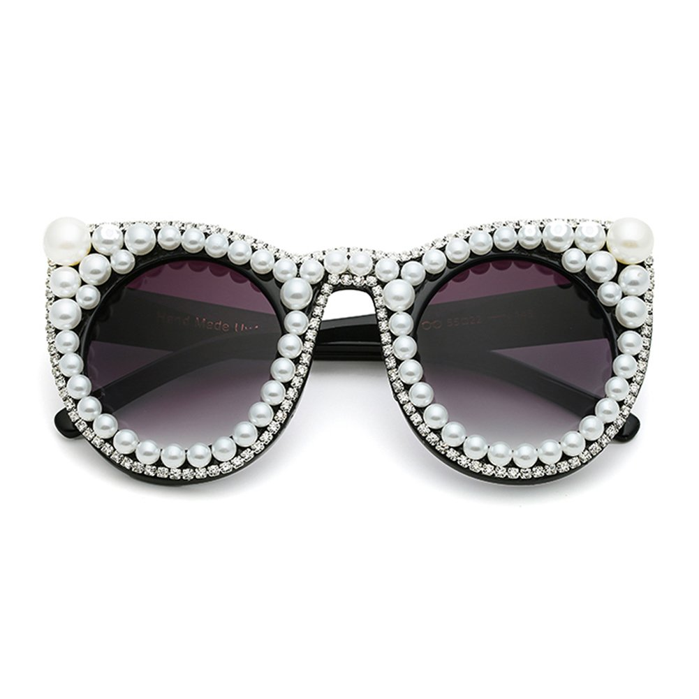 993def455759c Amazon.com  Oversized Rhinestone Glasses for women Big Cat Eye Sunglasses  Sun Glasses Luxury Brand (black)  Clothing