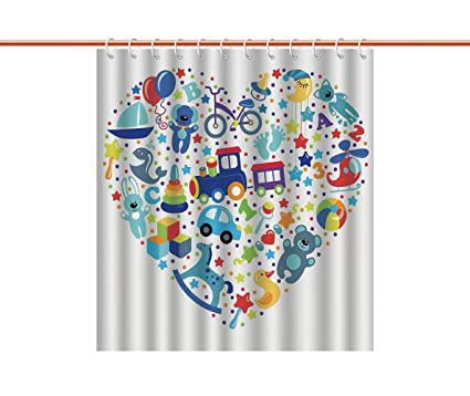 IPrint Shower Curtain Boys Girls RoomHeart Shaped Collage Of Toys For Newborn Baby