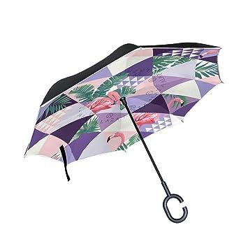 Mnsruu Paraguas invertido con patrón de Flamenco de Doble Capa Plegable Resistente al Viento y a los