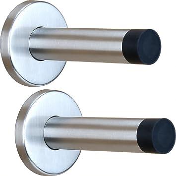 H S 2x Door Stop Stopper Wall Mounted Mount Doorstop Heavy Duty Stainless Steel Bumper Rubber Buffer T Amazon Co Uk Diy Tools