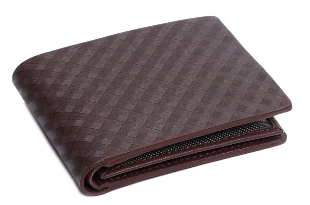 OHM Leather New York Plaid Style Textured Wallet (Brown)