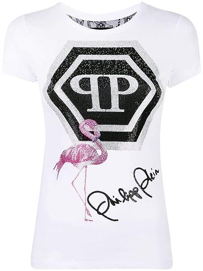 a7ee997cf48 Philipp Plein Women's WTK1251PJY002N01 White Cotton T-Shirt: Amazon ...