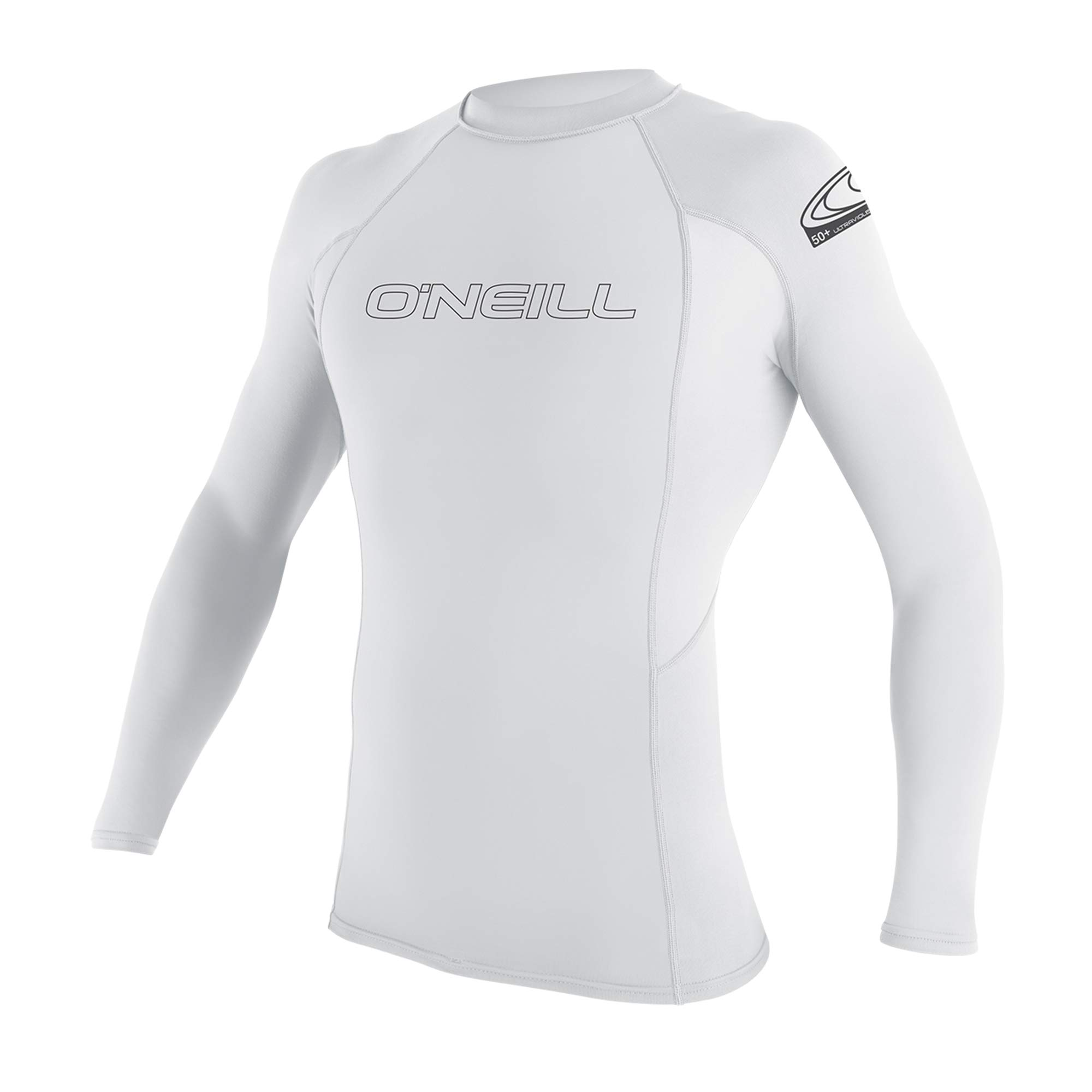 O'Neill Youth Basic Skins UPF 50+ Long Sleeve Rash Guard, White, 4