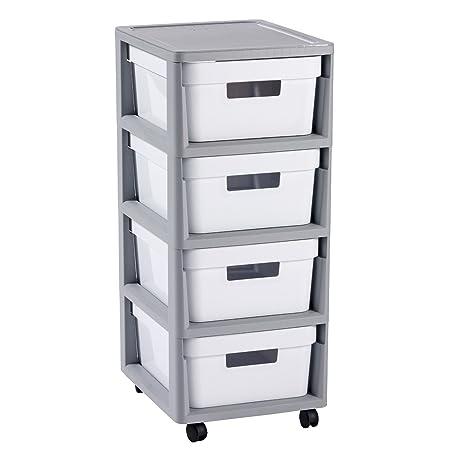 CURVER Infinity 4 x 10L Carrito con Cuatro cajones Roll Container – Carro Auxiliar