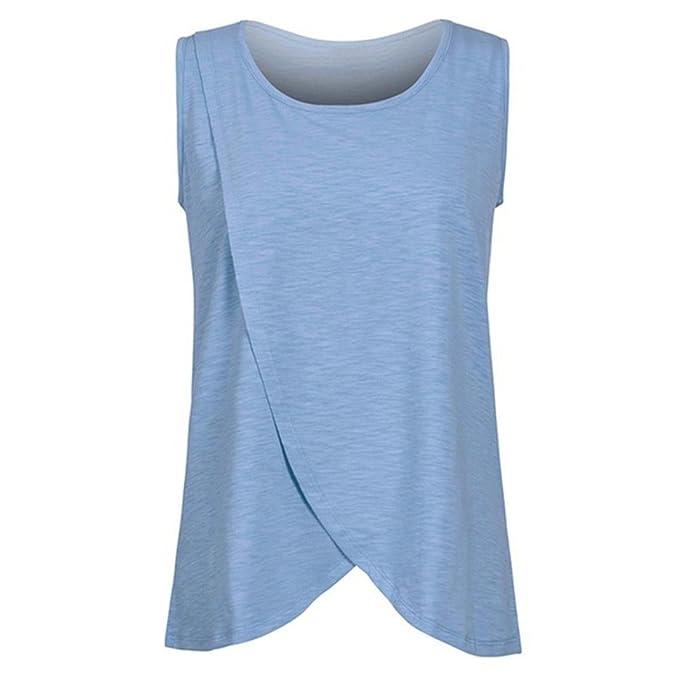 Cinnamou Camisas de Maternidad para Mujeres Sleeves Cortos Camisetas sin Mangas, Ropa de Maternidad para