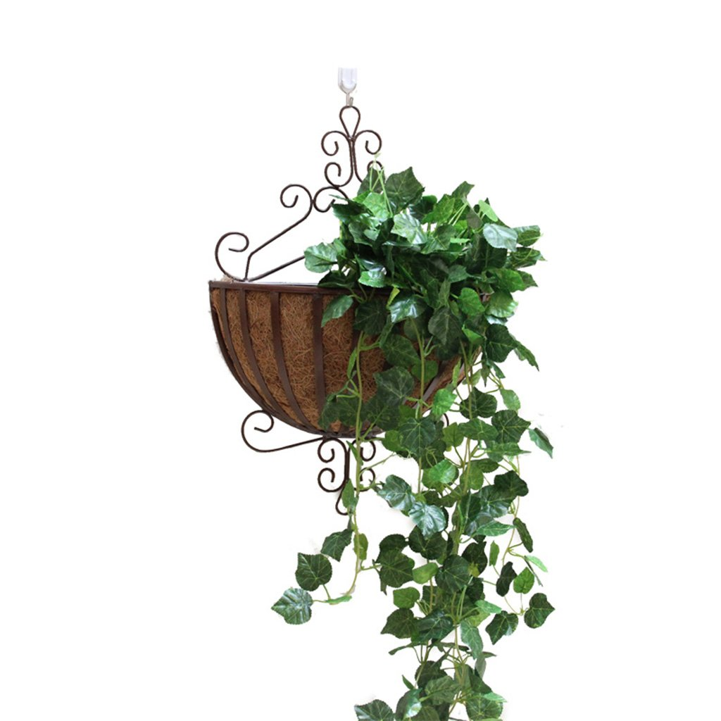 CSQ Iron Wall Hanging Flower Basket/Flower Stand, Indoor Decorations with A Mat, Bedroom/Living Room/Balcony / Dining Room, 3453CM Flower Shelf