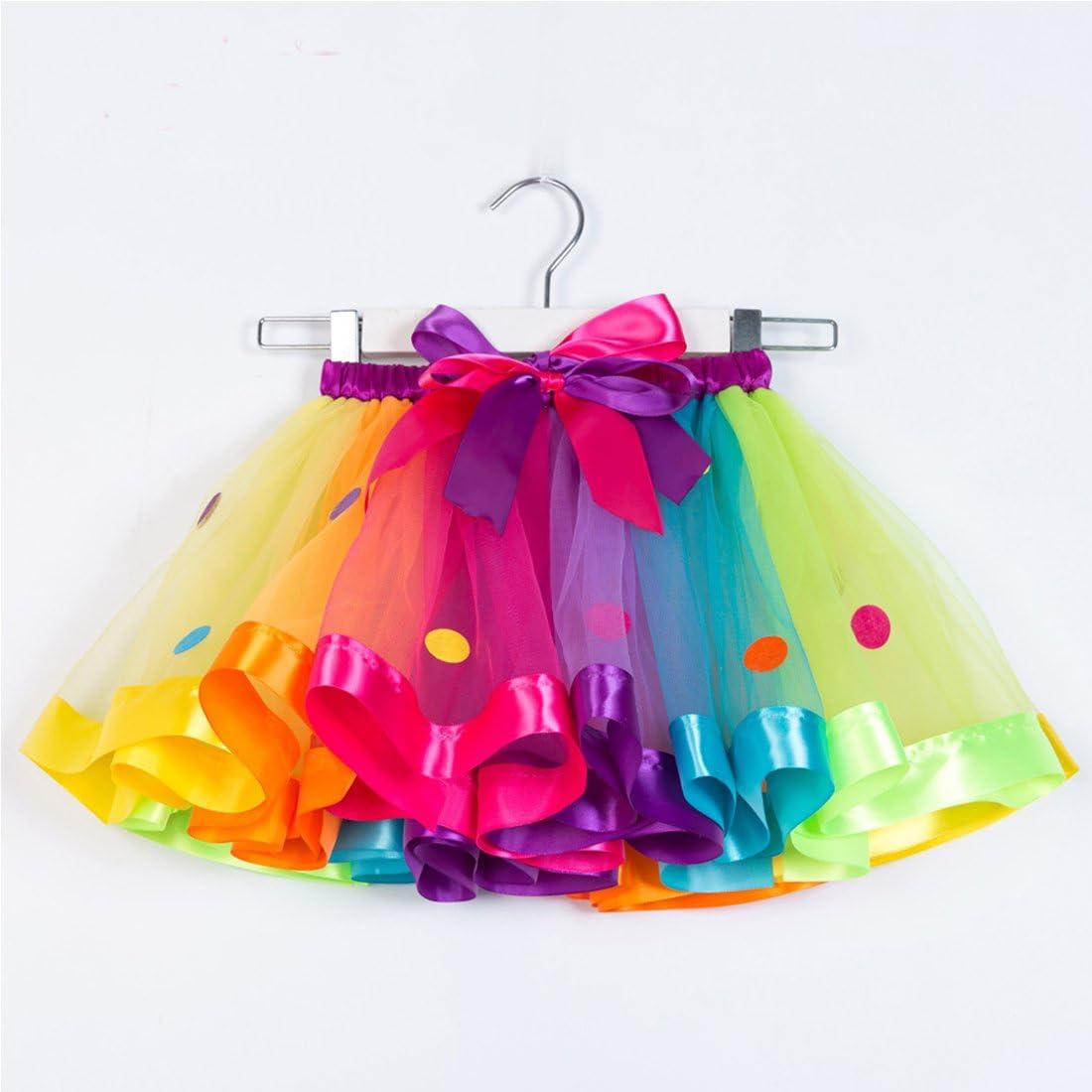 SHENLINQIJ Girls Layered Rainbow Tutu Skirt Bow Dance Party Ruffle