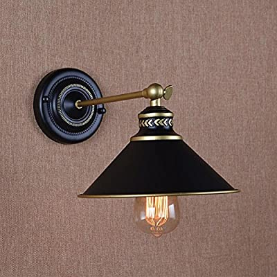 NAVIMC Industrial Black Wall Sconce Lighting , 180 Degree Adjustable Vintage Iron Swing Wall Lamp Light