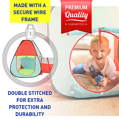 Kiddey Children's Dual Play Tent with Tunnel (3-Piece Set) – Indoor/Outdoor Playhouse for Boys and Girls – Lightweight, Easy to Setup – Promotes Imagination and Early Learning in Kids