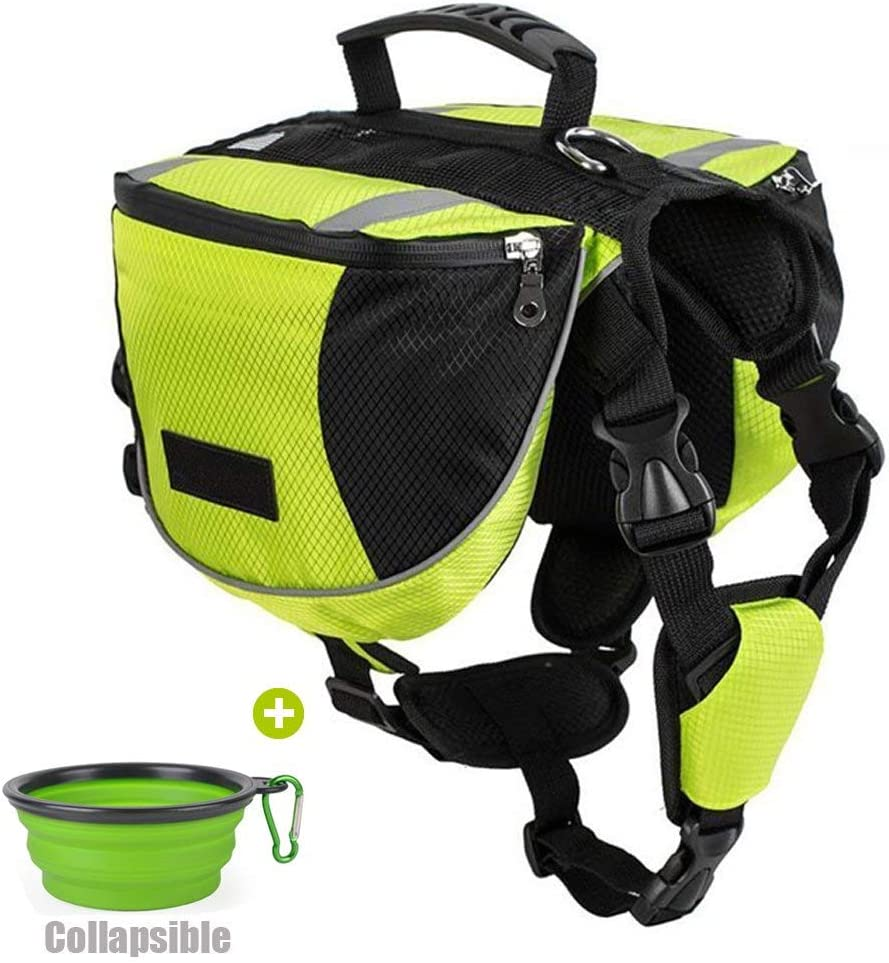 Lifeunion Polyester Dog Saddlebags Pack Hound Travel Camping Hiking Backpack Saddle Bag for Small Medium Large Dogs