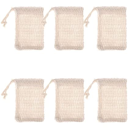 Liquid Soap Dispensers Home Improvement 6 Pcs Natural Exfoliating Soap Bags Handmade Sisal Soap Bags Natural Sisal Soap Saver Pouch Holder Bath Soap Holder Bags