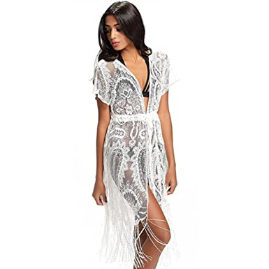 46d1986f2eb0a Women Sexy Tassels Lace Crochet Short Sleeve Beach Bikini Swimsuit Cover up  Cardigan