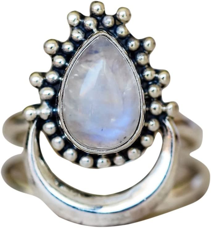 Size 5-11 Haluoo Vintage Natural Gemstone Moon Rings Chic Silver White Sun Opal Personalized Ring Boho Solitaire Ring