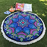 Towallmark Outside Oversized Sand Proof Turkish Thick Round Tassel Beach Towel For Two Kids