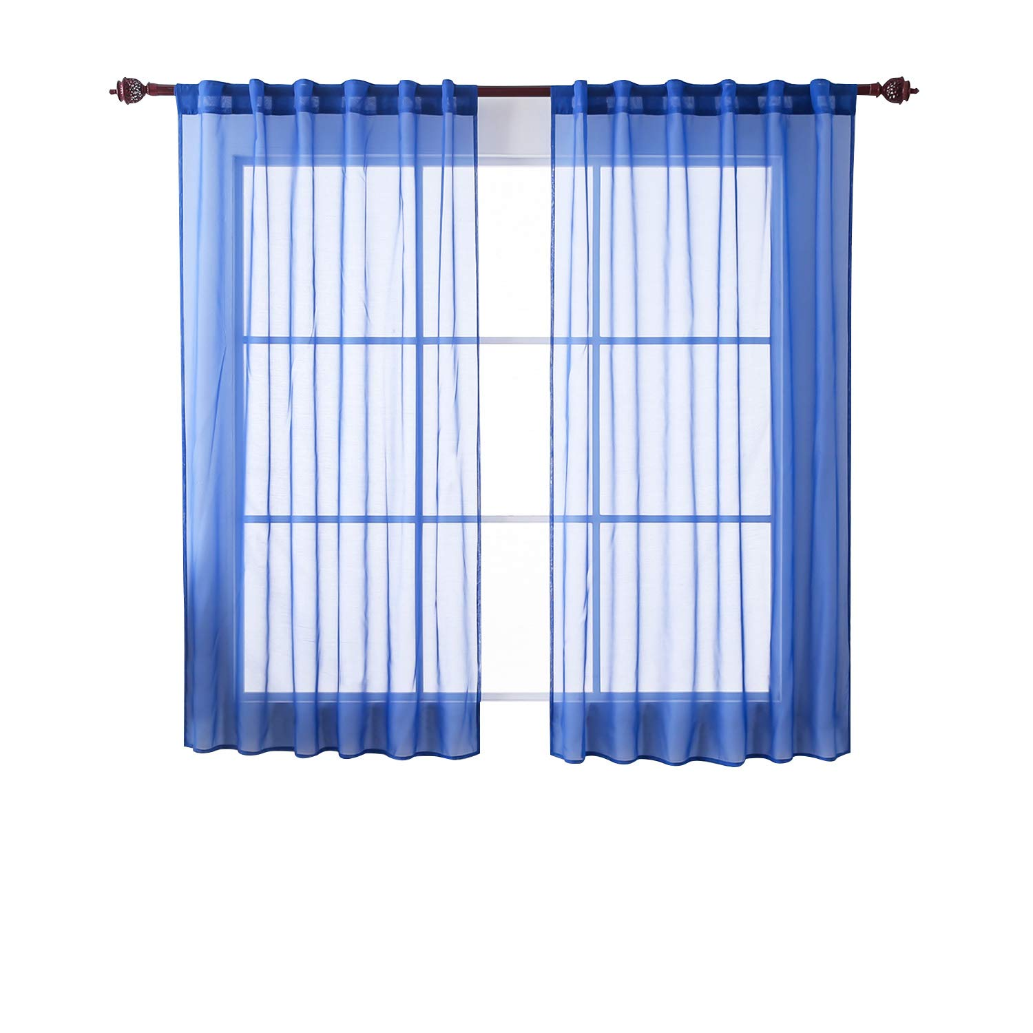 Deconovo Solid Color Rod Pocket and Back Tab Curtains Sheer Curtains Voile Curtains Window Curtains for Girls Room 52 W x 63L 2 Panels