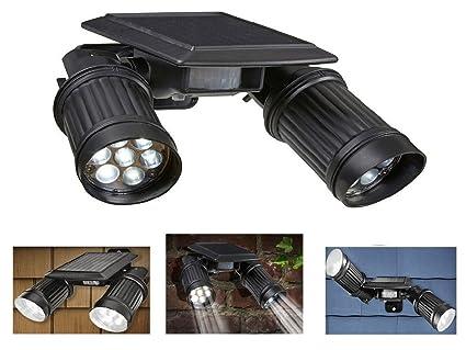 Negro 14 LED Solar PIR sensor de movimiento doble foco luz brillante al aire libre jardín