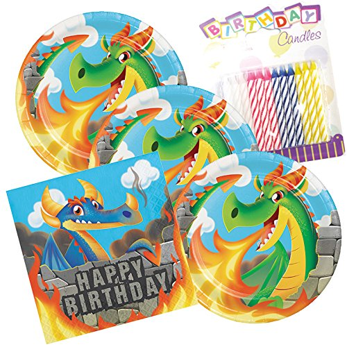 Dragons Happy Birthday Theme Plates and Napkins Serves 16 With Birthday Candles