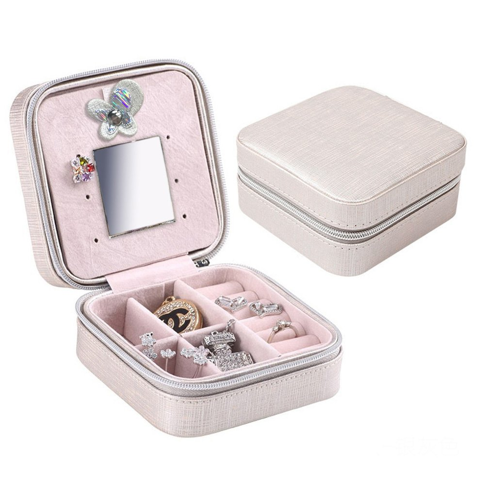 Rosenice - Joyero organizador de viaje joyas caja para anillo pendiente colgante Collar (plata)