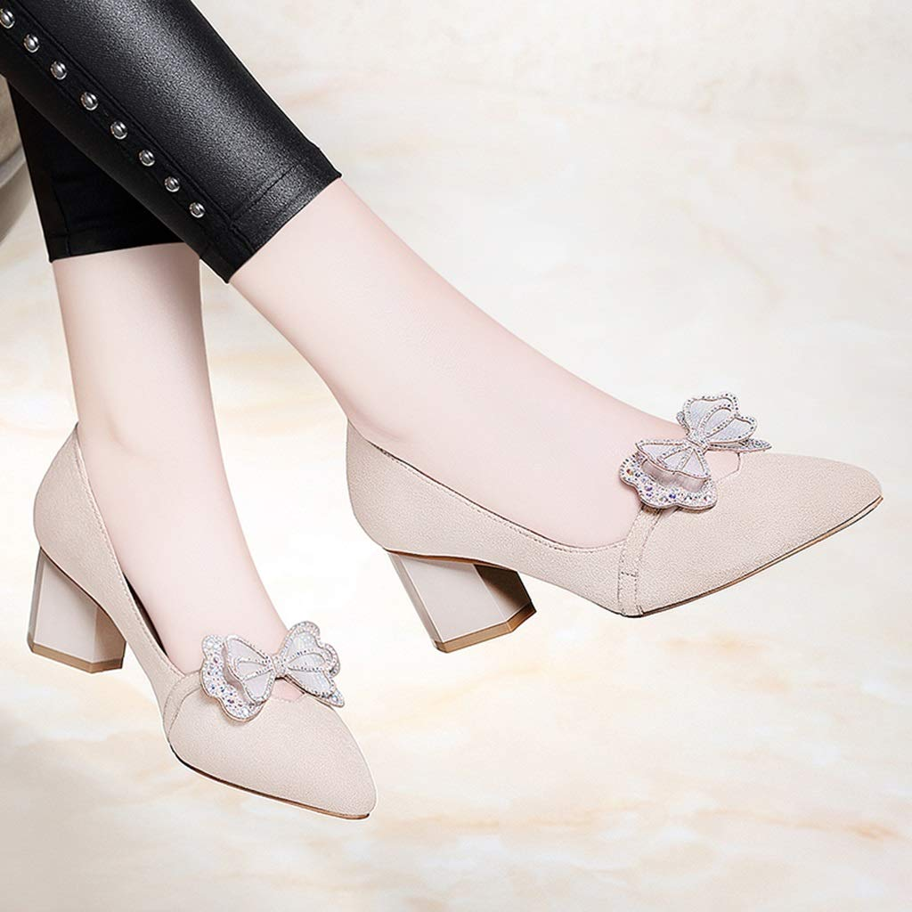 Truisa New Ladies Bow Female Shallow Mouth with Single Shoes Work Shoes Tide Spring New Womens Shoes Korean Version of Rhinestone Commuter Shoes Color : Black, Size : 34